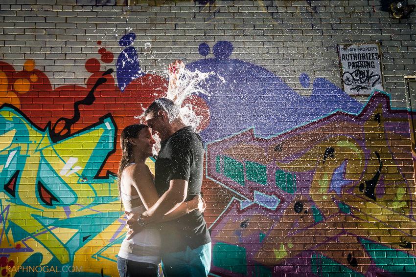 water balloon fight engagement photos graffiti alley-10