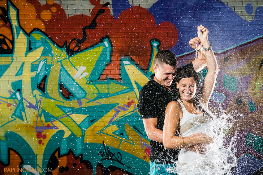 water balloon fight engagement photos graffiti alley-11