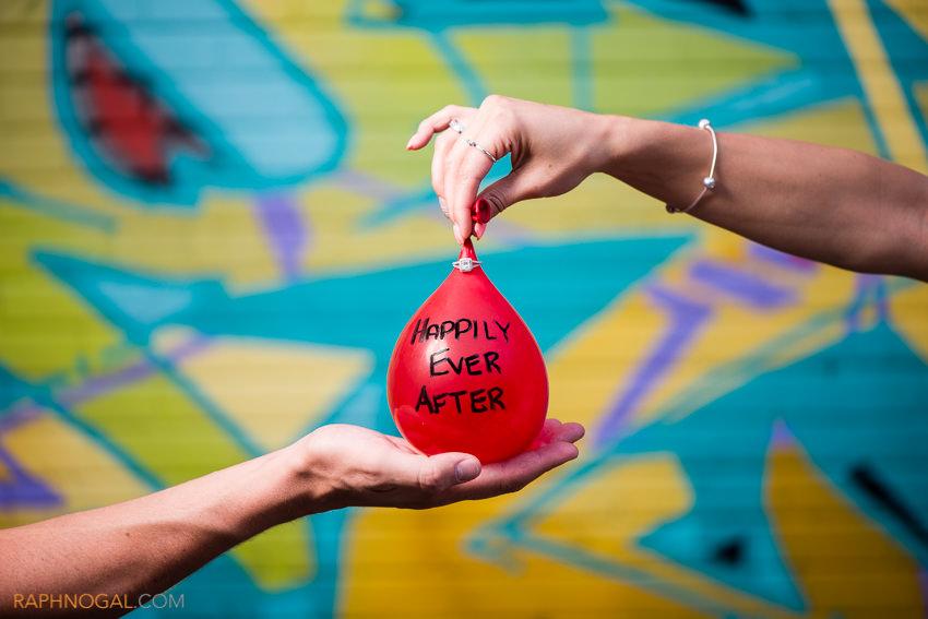 water balloon fight engagement photos graffiti alley-12