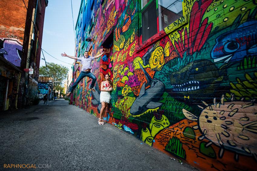 water balloon fight engagement photos graffiti alley-4