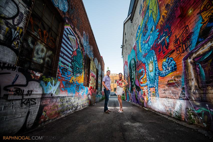 water balloon fight engagement photos graffiti alley-6
