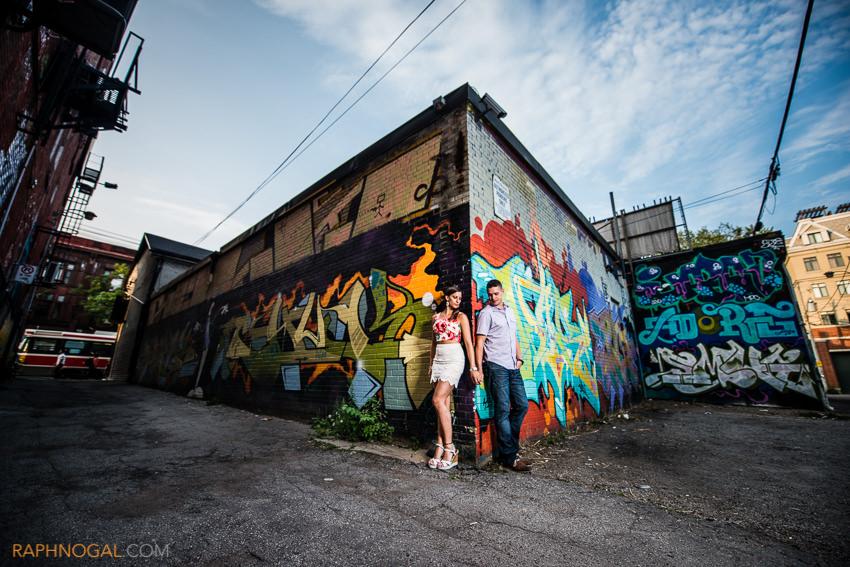 water balloon fight engagement photos graffiti alley-7