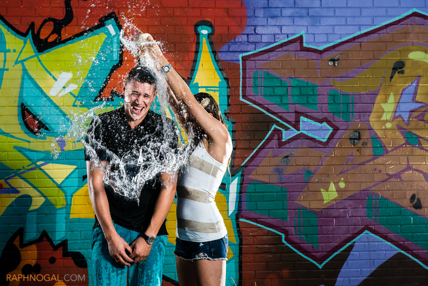 water balloon fight engagement photos graffiti alley-9