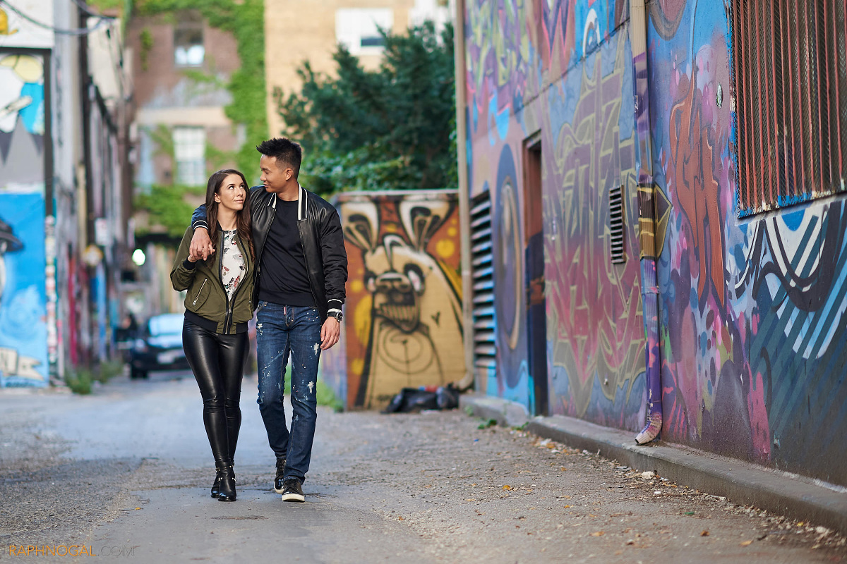 graffiti alley engagement photos  nicole  u0026 terence