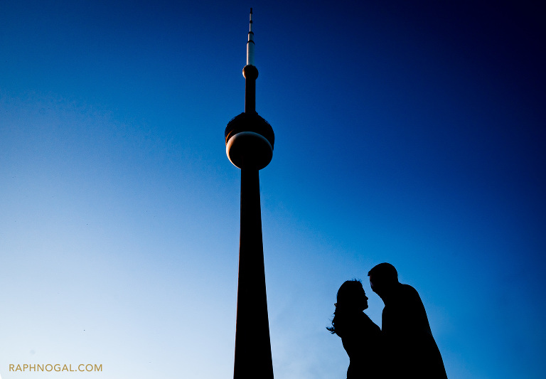 cn tower with couple's silhouette