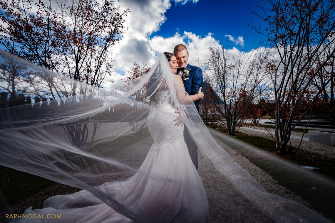 Bride and Groom dramatic photo at the grounds of Aga Khan Museum